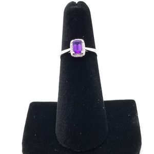 Sterling Silver Amethyst/Diamond Accent  Ring